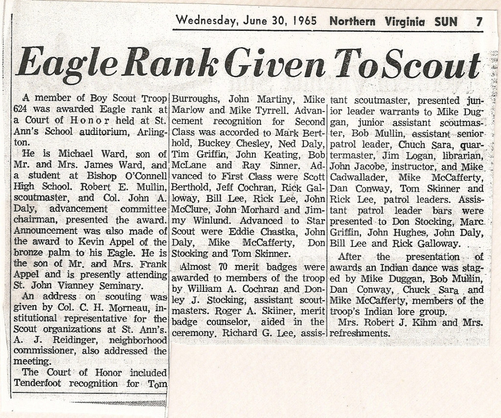 1965 Eagle Scout Awards article