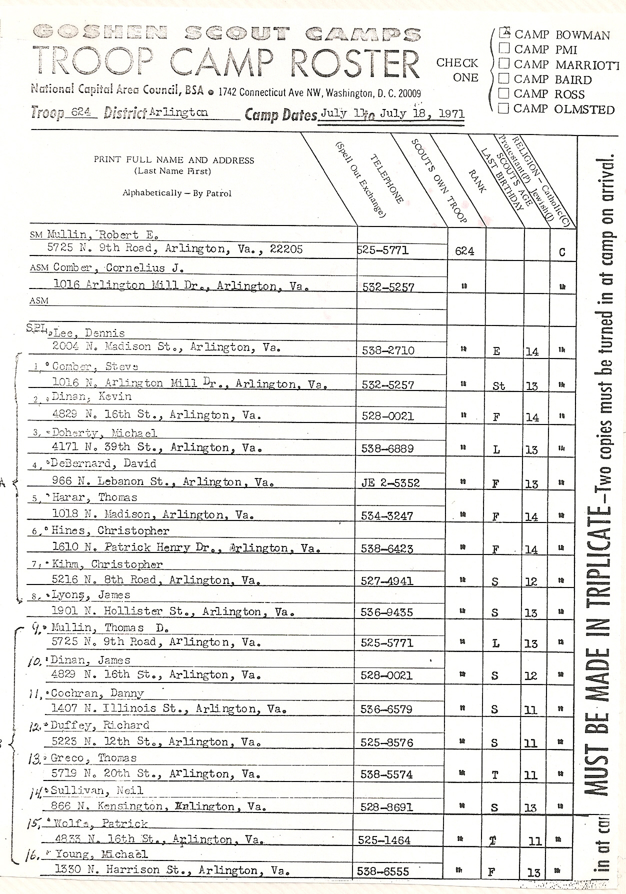 1971 Camp Roster